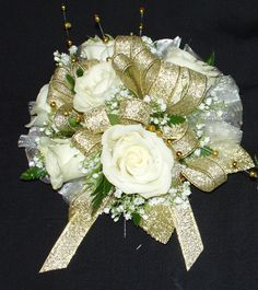 White mini rose wrist corsage with gold accents prom flowers white spray roses and babys breath with gold accents and gold ribbon wrist corsage mightylinksfo