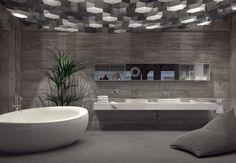 Modern grey luxury bathroom interior
