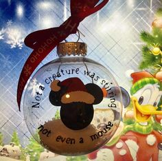 Mickey Mouse Ornament Idea - Not a creature was stirring not even a mouse Mickey Mouse Ornaments, Disney Ornaments, Diy Christmas Ornaments, Holiday Crafts, Holiday Fun, Fun Crafts, Christmas Bulbs, Christmas Decorations, Mickey Christmas