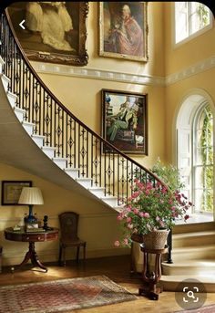 House Staircase, Grand Staircase, Staircase Design, Staircase Ideas, Winding Staircase, Staircase Runner, Staircase Makeover, Curved Staircase, Georgian Interiors