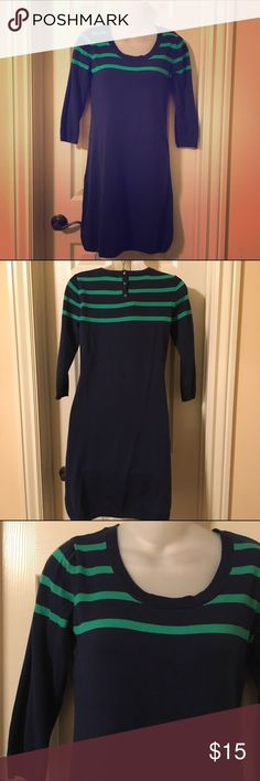 Navy and green sweater dress Cute navy sweater dress with green stripes on the top. 100% cotton. 3 Buttons down back. Worn a few times but still in great condition. Old Navy Dresses