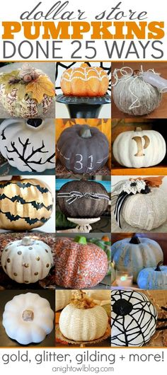 Dollar Store Pumpkins - Done 25 Ways