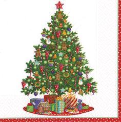 Caspari Trim a Tree white Christmas Theme Printed 3-Ply Paper Luncheon Napkins Wholesale 13460L