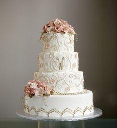 pink white and gold garden cake, A White Cake
