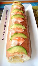 Cocinax2. Las recetas de Laurita.: Tronco de aguacate y langostinos Sushi, New Year's Food, Barbacoa, Hot Dog Buns, Flan, Finger Foods, No Cook Appetizers, Gourmet, Lobsters