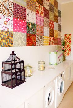 """So doing this to my living room wall! Great Wall idea use 12x12 scrapbook paper and decoupage it to the wall and then seal it."
