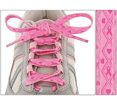 Pink Ribbons & Hearts Shoelaces Every Purchase Funds Mammograms for Women in Need.