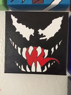 Handmade Venom inspired painting canvas by BoomaShop on Etsy, Art Painting, Kids Canvas Painting, Avengers Paintings Canvases, Trippy Painting, Marvel Paintings, Painting, Mini Canvas Art, Art, Cool Paintings