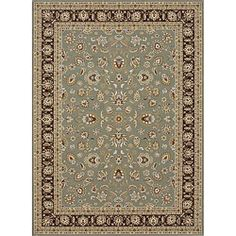 Primeval Sage/ Coffee Oriental Rug (5'3 x 7'7)