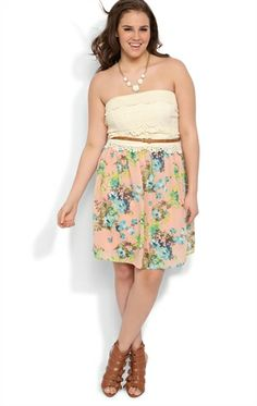 Deb Shops Plus Size Strapless Crochet Lace Dress with Floral Chiffon Skirt $38.50