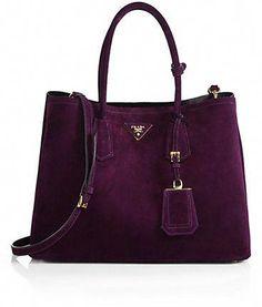 6fd8ccaa12 Prada Suede Double Bag in a sumptuous purple suede.   faints