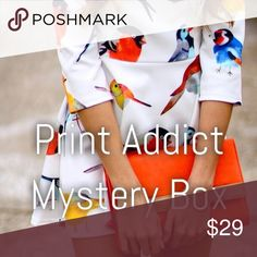 4 item MYSTERY BOX print addict *Print Addict Mystery Box* Includes 4 mystery items from my closet. Some used some new or new with tags. All in perfect condition! All items are designer or name brand. Tops