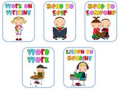 Daily 5 posters! For my primary friends! Daily 5 Reading, Teaching Reading, Teaching Ideas, Guided Reading, Reading School, Phonics Reading, Reading Groups, Reading Skills, Kindergarten Literacy