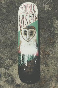 Owl skateboard art by Curtis Ashby