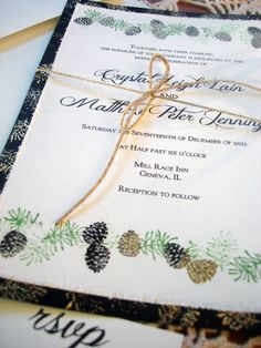 Pine Cone Winter Wedding Invitations hand by everafterpapery, $10.00