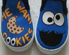 Found these Cookie Monster Sesame Street shoes on Etsy, but I think I'd like 2 different characters. Maybe I'll try to DIY cookie monster and Elmo canvas sneakers Painted Canvas Shoes, Custom Painted Shoes, Painted Sneakers, Hand Painted Shoes, Custom Shoes, Canvas Sneakers, Disney Painted Shoes, Custom Sneakers, Toddler Shoes