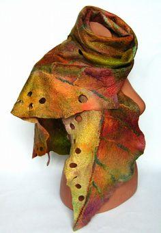 Nuno Felted scarf Wool silk Fall colour Orange Green by lannarfelt ETSY artisan Yellow Accessories, Winter Accessories, Vintage Accessories, Purple Gold, Green And Purple, Nuno Felt Scarf, Felted Scarf, Vintage Winter, Nuno Felting