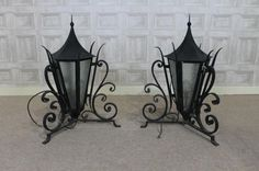 These wrought iron lanterns are a fantastic addition to any period residence. These superb quality and well made pillar top lanterns feature a wrought iron frame and large lantern to centre. - See more at: http://www.peppermillantiques.com/wrought-iron-lanterns/#sthash.ysuALKUo.dpuf