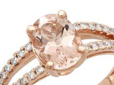Morganite Engagement Ring Diamond Morganite Ring by TheJewelryBay