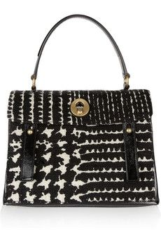Yves Saint Laurent|Muse Two Prince of Wales check tweed tote|NET-A-PORTER.COM - StyleSays