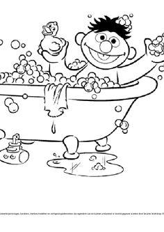 Kleurplaat ernie in bad