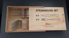 Julia 12 Piece Steakhouse Set in Wooden Box