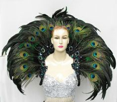 Samba Burlesque Cabaret Dancer Peacock Feather Backpack by DaNeeNa Peacock Costume, Peacock Dress, Peacock Colors, Peacock Design, Peacock Feathers, Bird Costume, Peacock Art, Fairy Costumes, Samba