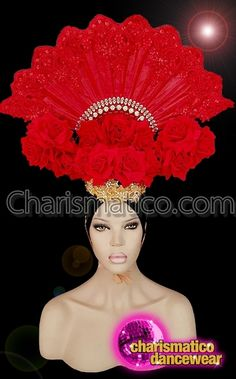 8ea5d40b7c CHARISMATICO Fascinating Fan Headdress With Sequin Work And Presence Of Red  Roses