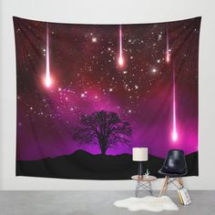 Tree Wall tapestry Space wall tapestry Galaxy wall art by NikaLim
