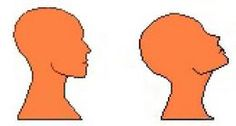 Correct head alignment when looking straight ahead and when looking up.