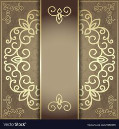 Stylish invitation card elegant golden design vector image on VectorStock Invitation Background, Paper Background, Invitation Cards, Invitations, Ornament Drawing, Jewelry Frames, Golden Design, Luxury Logo, Stationary Design