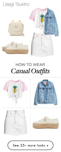 """Usagi Tsukino / Sailor Moon casual"" by melissa-piv on Polyvore featuring H&M, WithChic, Superga, sailormoon and UsagiTsukino"