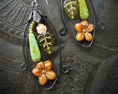 Blossom Series, Flowers, Vine, Rose Garden, Wire Wrapped, Hoops, Artisan Made, Summer, Glass, Organic, Rustic,Unique, Beaded Earrings