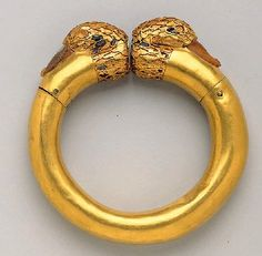 Achaemenid Gold bracelet with the figure of two ducks ornamented with gem stones. ca, 6th- 5th century BC. Miho museum Japan.