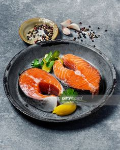 View top-quality stock photos of Salmon Steak. Find premium, high-resolution stock photography at Getty Images. Wild Salmon Recipe, Salmon Recipes, Raw Food Recipes, Fish Recipes, Seafood Recipes, Healthy Recipes, Fresh Seafood, Fish And Seafood, Raw Salmon