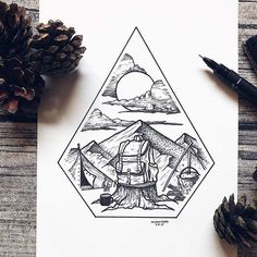 Dot Illustrations of Nature Eases the Anxiety of This Amazing Artist Pencil Art Drawings, Cool Art Drawings, Art Drawings Sketches, Camping Tattoo, Stippling Art, Nature Drawing, Sketches Of Nature, Ink Illustrations, Tattoo Illustration