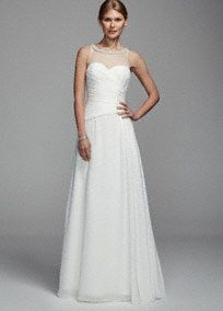 Long Chiffon Tank Gown with Illusion Neckline