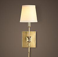 "Library Sconce Antique Brass | Sconces | Restoration Hardware  3 1/2 w   6 d   12"" h"