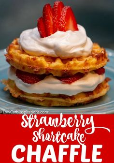 You have got to the this Keto Strawberry Shortcake Chaffle recipe! It's the perfect keto dessert idea and it's super easy to make sweet chaffles as fun treats! Keto Friendly Desserts, Low Carb Desserts, Low Carb Recipes, Dessert Recipes, Cake Recipes, Recipes Dinner, Bread Recipes, Health Desserts, Fish Recipes