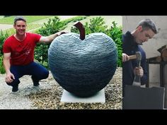 SCULPTING an APPLE in STACKED SLATE | Artist at Work | James Parker Sculpture - YouTube