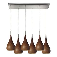 Lindsey 6 Light Pendant In Burl Wood And Satin Nickel 31341/6RC-BW