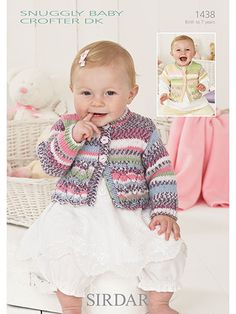 Sirdar Snuggly Baby Crofter DK 1438: Short & Long Sleeve Cardigans Knit Patterns