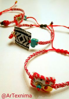 March bracelets Textile Jewelry, Boho Jewelry, Jewelry Art, Jewelery, Greek Fashion, Macedonia, Jewelry Patterns, Handmade Bracelets, Friendship Bracelets