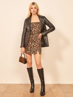 This is a mini length dress with a square neckline, wide straps, and side slits. The Austin is slim fitting throughout. Crotch Boots, Fall Outfits, Summer Outfits, Fashion Boots, Fashion Outfits, Fashion Night, School Fashion, Sexy Boots, Black Boots