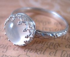 Sterling Silver Moonstone Ring your size by DiademJewels on Etsy, $55.00