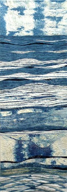 Rules The Waves by Margaret Ramsay (UK). Contemporary Indigo quilt.