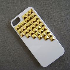 studded iphone 5/5s/5c case,Gold pyramid studs with white Hard Case Cover,iPhone 5 case,case for Iphone 5 ,super shinning on Etsy, $10.99