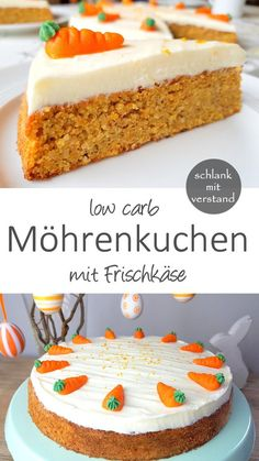 low carb Möhrenkuchen - Kuchen und Torten - Low Carb backen Rezepte - Carrot cake low carb A recipe from the category sweets and baking. For healthy weight loss as part of a low carb / lchf / keto diet. Food Cakes, Low Carb Desserts, Low Carb Recipes, Healthy Recipes, Low Carb Food, Ww Recipes, Baking Recipes, Vegetarian Recipes, Low Carb Carrot Cake