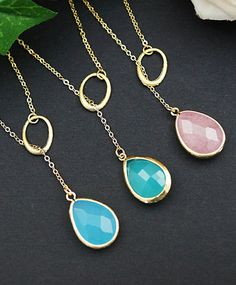 Oval charm with Sky Blue glass necklace