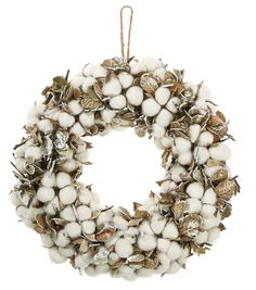 Fall For All Cotton & Leaves Wreath 14''